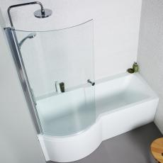 Adapt 1500mm P Shaped Shower Bath, Front & Side Panel and Bath Screen.