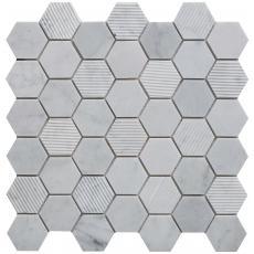 Vicedo Stone Hexagon Mixed Finish Marble Mosaic 48x48mm
