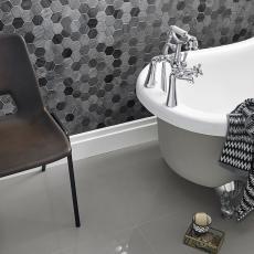 Meira Hexagon Mixed Finish Marble Mosaic 48x48mm