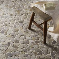 Lancara - White Flat Cut Pebble Mosaic