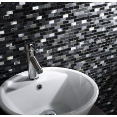 Black Glass/Stone/Pearl Mix Mini Brick Mosaic 15x30mm