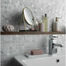 Navia White Marble & Mother of Pearl Mosaic 2 x 2cm