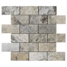 Portomarin Grey Tumbled Travertine Brick Mosaic 48x98mm
