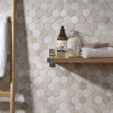 Vinalesa Cream Mix Finish Marble Hexagon Mosaic 50x50mm