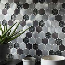 Faura Black Mix Glass & Metal Hexagon Mosaic 50x50mm