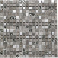 Cotes Grey Glass/Stone/Metal Mix Mosaic 15x15mm
