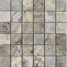 Portomarin Grey Tumbled Travertine Mosaic 48x48mm