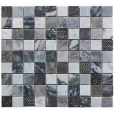 Ourole Grey Polished Marble & Resin Mosaic 23x23mm