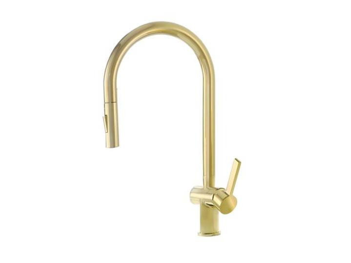 VOS Single Lever Pull Out Sink Mixer Brushed Brass image