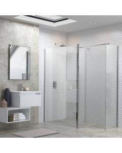 Flex Wet Room Screen with Rotatable Panel and Support Bar 800