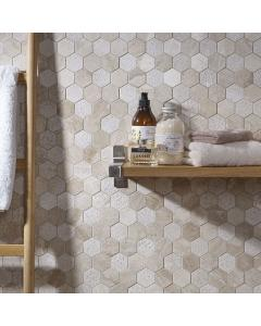 Vinalesa Cream Mix Finish Marble Hexagon Mosaic 50x50mm