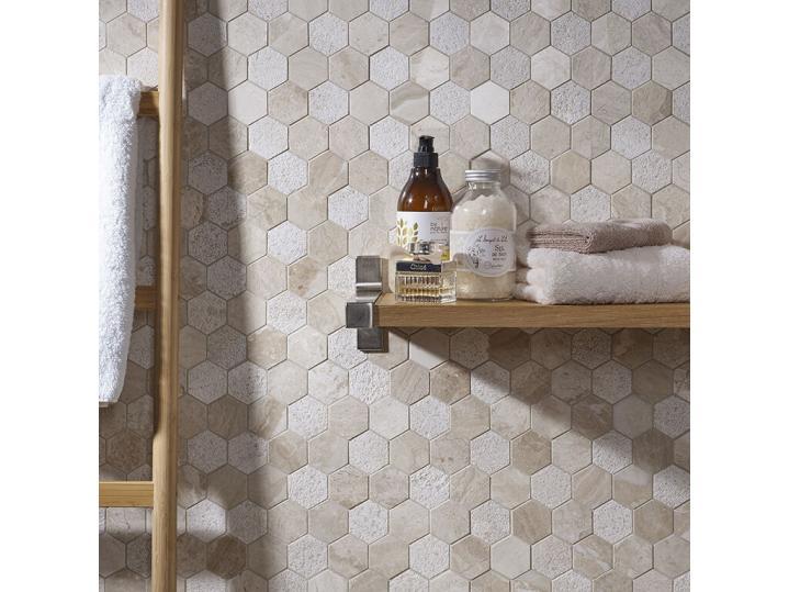 Vinalesa Cream Mix Finish Marble Hexagon Mosaic 50x50mm image