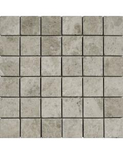Burela Grey Tumbled Marble Mosaic 50x50mm