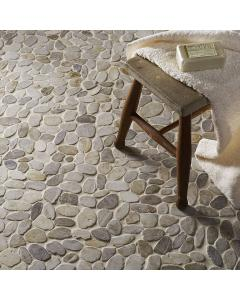 Lancara - White Flat Cut Pebble Mosaic