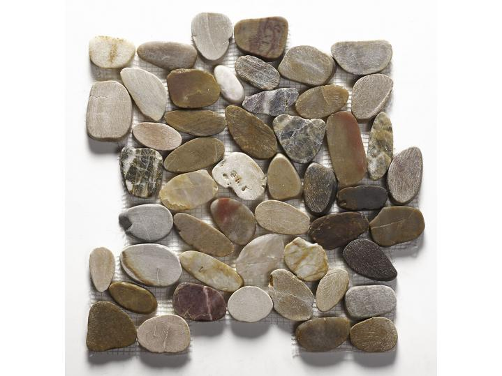 Lancara - Multi Colour Flat Cut Pebble Mosaic image