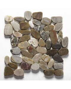 Lancara - Multi Colour Flat Cut Pebble Mosaic