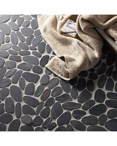 Lancara - Black Flat Cut Pebble Mosaic