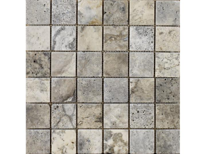Portomarin Grey Tumbled Travertine Mosaic 48x48mm image