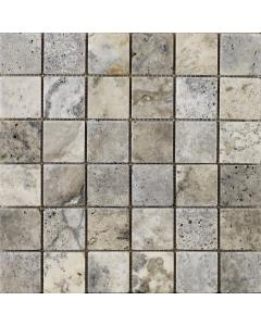 Portomarin Grey Tumbled Travertine Mosaic 48x48mm