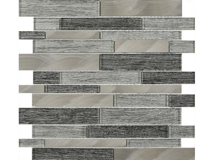 Alzira Grey Glass & Metal Mix Offset Linear Mosaic image