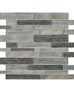 Alzira Grey Glass & Metal Mix Offset Linear Mosaic