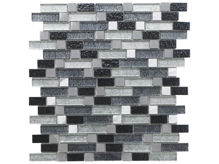 Andilla Fusion Grey Glass/Metal Mix Offset Linear Mosaic image