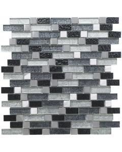 Andilla Fusion Grey Glass/Metal Mix Offset Linear Mosaic