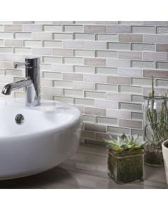 Carlet Grey/White Glass & Stone Mix Brick Mosaic 20x73mm