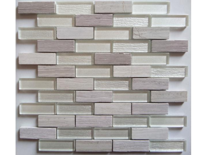 Carlet Grey/White Glass & Stone Mix Brick Mosaic 20x73mm image