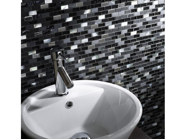 Black Glass/Stone/Pearl Mix Mini Brick Mosaic 15x30mm image