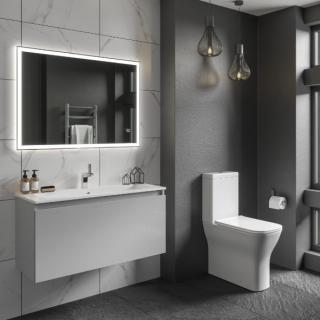Lune 500mm Wall Mounted Unit Inc Mineral Cast Basin - Gloss White