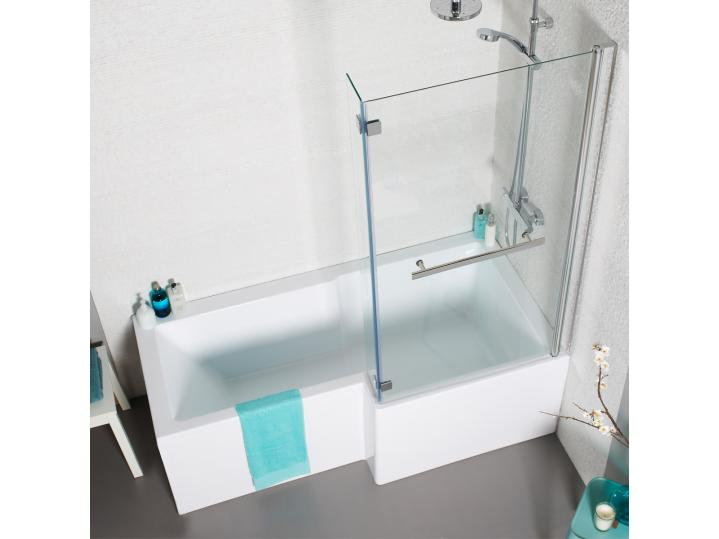 Tetris 1500mm Square Shaped Shower Bath Pack Inc. Front & Side Panel and Bath Screen. image