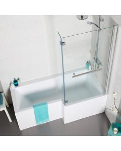 Tetris 1500mm Square Shaped Shower Bath Pack Inc. Front & Side Panel and Bath Screen.