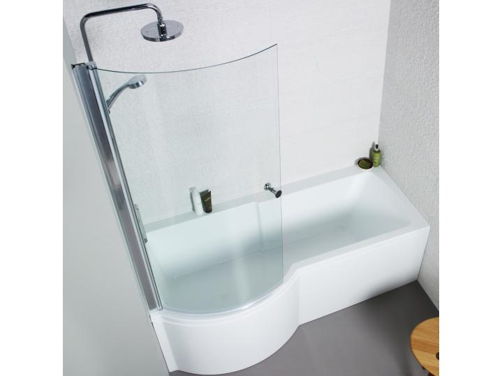 Adapt 1500mm P Shaped Shower Bath, Front & Side Panel and Bath Screen. image