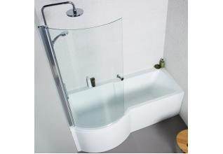 Adapt 1700mm P Shaped Shower Bath Pack Inc. Front & Side Panel and Bath Screen