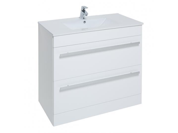 Purity White Floorstanding 2 Drawer Unit & Ceramic Basin image