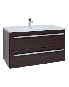Purity Chestnut Wall Mounted 2 Drawer Unit & Ceramic Basin