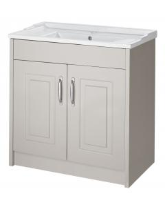 Astley Stone Grey Floor Standing 2 Door Unit and Ceramic Basin