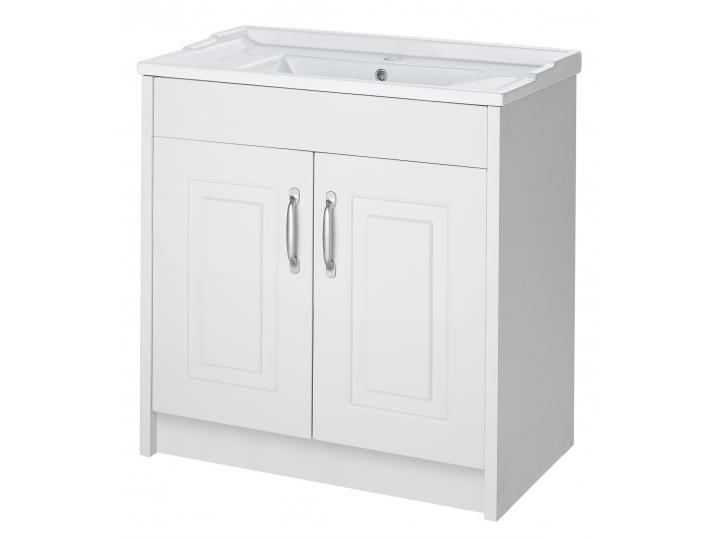 Astley White Ash Floor Standing 2 Door Unit and Ceramic Basin image