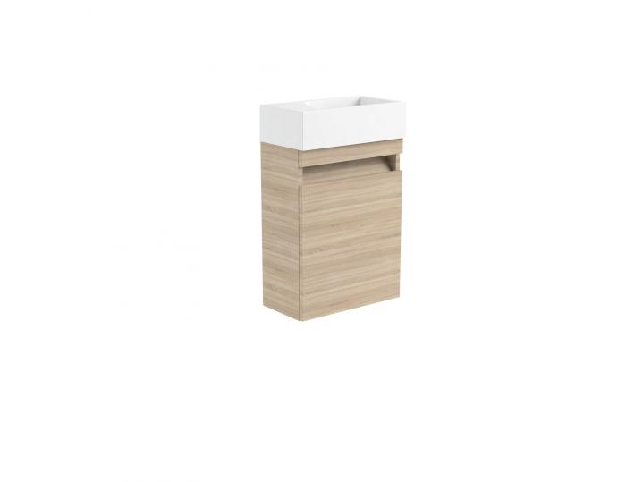 Ikon Natural Oak 400mm Wall Mounted Cloakroom Unit and Ceramic Basin image