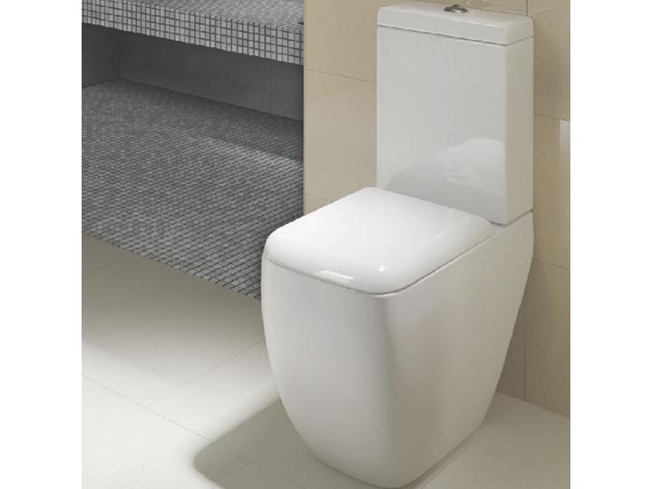RAK Metropolitan Close Coupled Toilet WC Push Button Cistern with Soft Close Seat image
