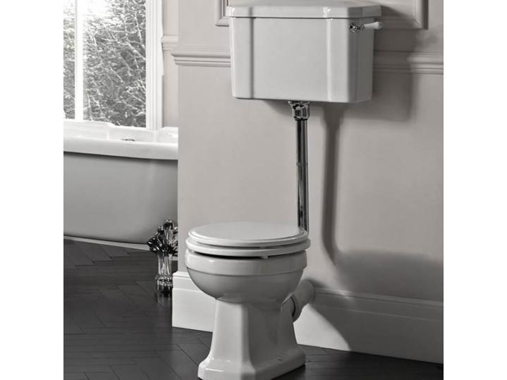 Tavistock Vitoria Low Level Toilet WC Pull Chain Cistern Solid with Toilet Seat image