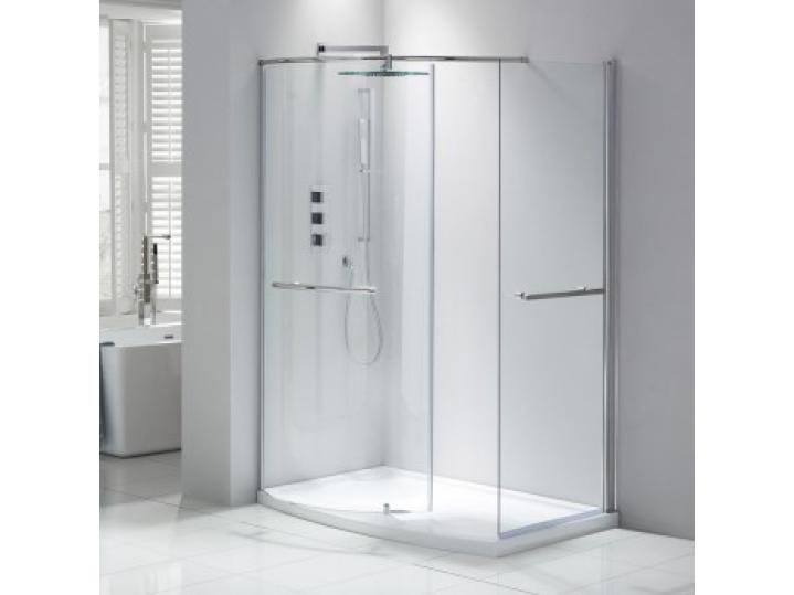 Aquaglass Purity Curved Walk-In Shower Enclosure Including Dedicated Tray image