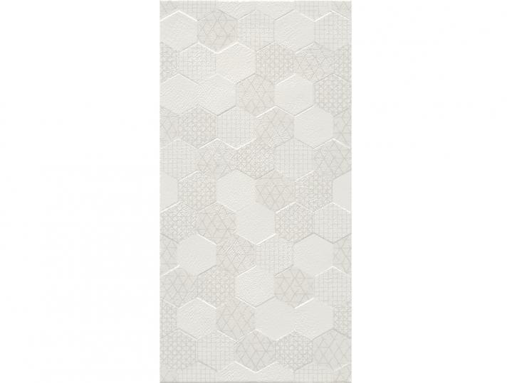 Hex White Ceramic Decor 30x60 Tile - Wall image