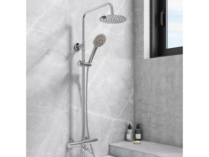 Santana Round Thermostatic Shower Kit + Bath Filler image