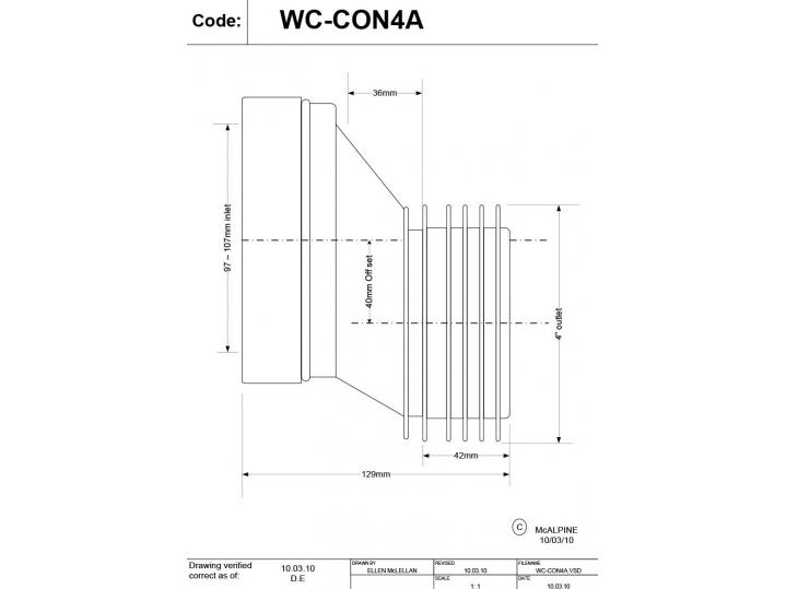 "McAlpine WC-CON4A 4"" / 110mm 40mm Offset Rigid WC Connector image"