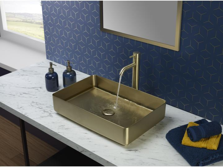 VOS Brushed Brass Grade 316 Stainless Steel Counter Top Basin 2 image