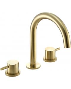VOS 3 Hole Deck Mounted Basin Mixer Brushed Brass
